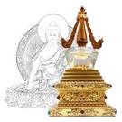 28.5公分 純銅菩提塔 釋迦牟尼佛 塔底可裝藏 金色琉璃