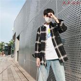 韓版格子襯衫男裝長袖寬鬆港風上衣
