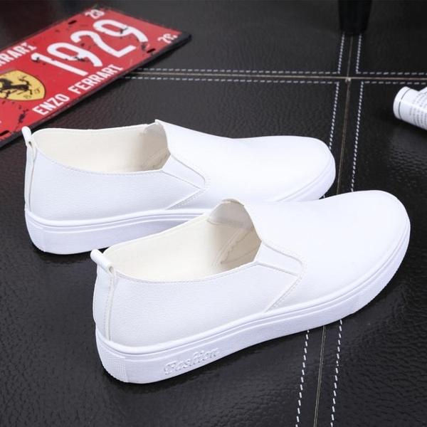 樂福鞋春季黑白色套腳樂福鞋韓版潮皮面一腳蹬懶人鞋女平底休閒板鞋