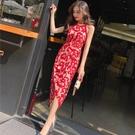 夏季新款韓版女裝氣質掛脖無袖修身顯瘦定制印花不規則洋裝