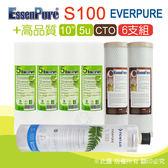 水蘋果居家淨水~快速到貨~Everpure 美國原廠平行輸入S100 濾心+ EssenPure高品質前置濾心6支組(5u+CTO)