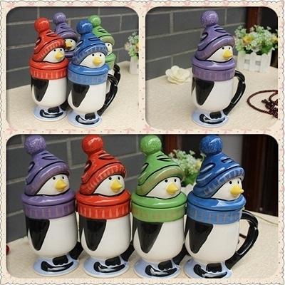 彩繪咖啡杯-可愛企鵝造型附蓋陶瓷馬克杯4色72ax22【時尚巴黎】