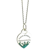 【奢華時尚】TIFFANY Return To Tiffany 藍色琺瑯潑墨心牌墜飾925純銀項鍊(九成新)#25236