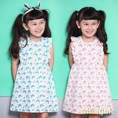 Mini Jule 女童 洋裝 滿版蝴蝶樹葉荷葉裝飾無袖洋裝(共2色)