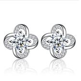 耳環 奢華滿鑽甜美永恆花語鋯石 925銀針 耳環
