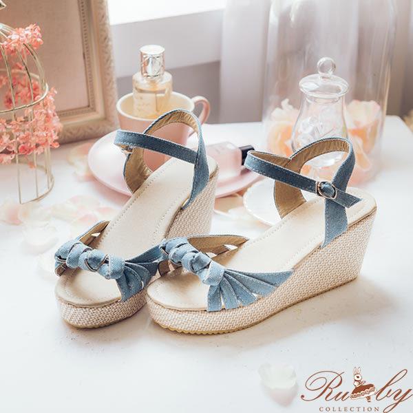 鞋子 扭結牛仔楔型平底鞋-Ruby s露比午茶