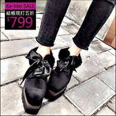 克妹Ke-Mei【ZT48251】原單!歐洲站心機心厚底坡跟皮草毛毛綁帶休閒鞋