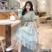 連身裙.波點連身裙新款女裝流行夏天裙子氣質V領短袖拼接網紗蛋糕裙..花戀小鋪