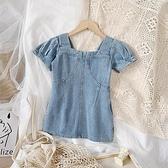 女童丹寧風泡泡袖裙