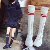 ins超火的鞋子女2018夏季新款韓版百搭彈力襪子鞋透氣高筒長筒靴「時尚彩虹屋」