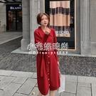 秋冬新款韓版女裝純色單排扣綁帶收腰針織毛衣洋裝   【全館免運】