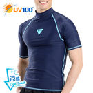 UV100 防曬 抗UV-涼感跳色短袖上衣-男