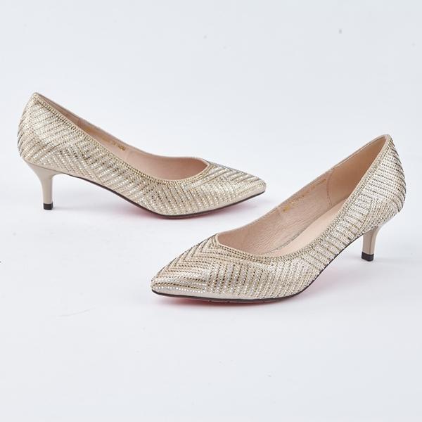 kadia.奢華雙色水鑽閃耀高跟鞋(8536-21金色)