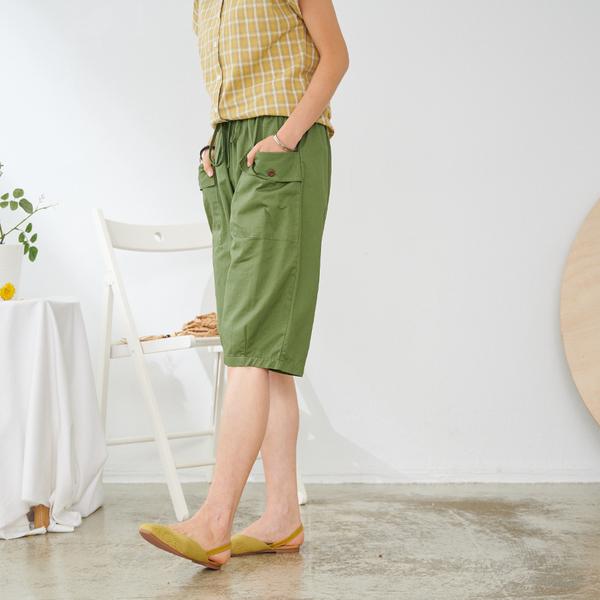 【慢。生活】鬆緊大口袋闊腿五分短褲 K2181 FREE綠色