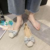 樂福鞋 單鞋女蝴蝶結奶奶鞋懶人一腳蹬豆豆鞋工作鞋【風之海】