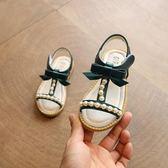 夏季學生露趾鞋女童涼鞋蝴蝶結公主鞋韓版新款兒童防滑沙灘鞋 〖米娜小鋪〗