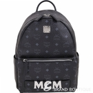 MCM Trilogie 經典塗層帆布皮革後背包(附可拆鍊帶提包/黑色) 1840733-01