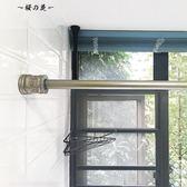美式伸縮桿免打孔仿古銀浮雕浴簾桿 1.2-2m