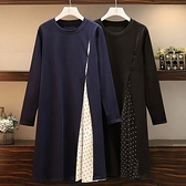 顯瘦假兩件點點拼接洋裝-大尺碼 獨具衣格 J3343