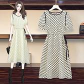 連身裙 洋裝中大尺碼L-5XL胖MM顯瘦溫柔減齡設計感小眾泡泡袖碎花中長裙R28-A.胖丫