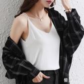 雪紡V領吊帶上衣 2020新款春夏背心女黑色打底衫性感內搭寬鬆顯瘦 BT20891『優童屋』