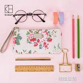 學生筆袋大容量帆布創意花卉女生文具鉛筆袋隨身收納手包袋 韓語空間