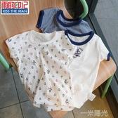 夏季兒童新款童裝寶寶純棉薄款短袖網眼透氣速干T恤居家打底上衣 一米陽光