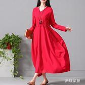 中大尺碼秋季女長袖棉麻連衣裙文藝范寬鬆氣質裙子sd2462『夢幻家居』