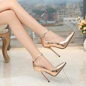 現貨出清13cm鍍金跟黑色偽娘大碼超高跟鞋細跟變裝女鞋 夜店情趣鞋36-44碼 莫妮卡小屋5-9