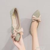 春季網紅淺口單鞋舒適平底鞋韓版小香風豆豆鞋女晚晚風溫柔鞋