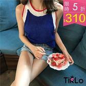 背心 -Tirlo-韓系撞色針織削肩背心-一色(現+追加預計5-7工作天出貨)