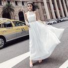 VK精品服飾 韓國風釘珠鏤空蕾絲拼接掛脖網紗婚紗伴娘禮服裙長裙無袖洋裝