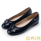 ORIN 輕熟魅力 經典鏡面牛皮壓紋娃娃鞋-藍色