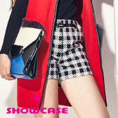 【SHOWCASE】率性格紋反摺短褲(黑)
