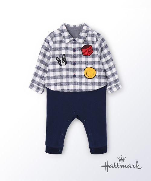 Hallmark Babies快樂上學去襯衫假兩件棉質長袖連身衣 HG3-R01-20-BB-DN