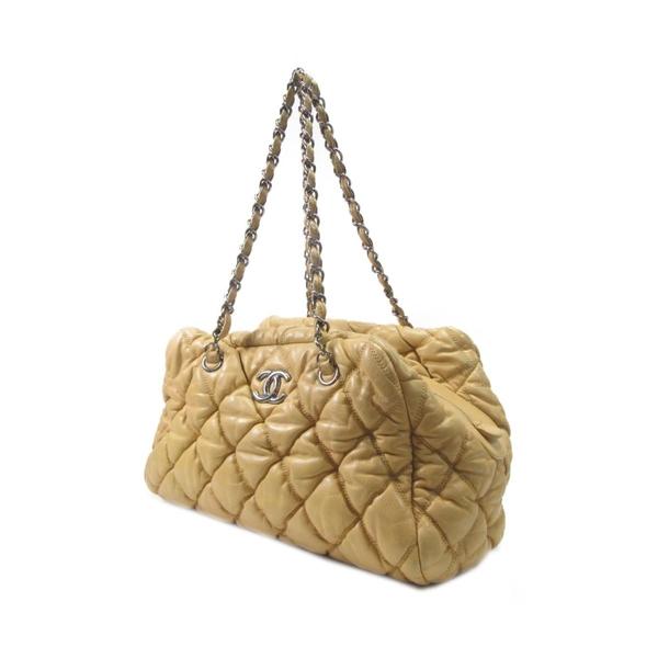 CHANEL 香奈兒 米黃色牛皮菱格銀色雙鍊肩背包 Bubble Bowler Bag【BRAND OFF】