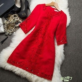 洋裝 敬酒服新娘夏裝新品紅色連身裙洋裝蕾絲訂婚結婚晚禮服大尺碼 【快速出貨】