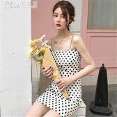 洋裝夏季女度假性感露肩平口波點修身包臀吊帶裙港味洋裝夏「Chic七色堇」