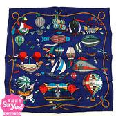 【奢華時尚】秒殺推薦!HERMES 彩色熱氣球飛船印花海軍藍色絲質方巾領巾(九五成新)#23311