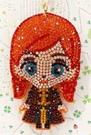 【震撼精品百貨】冰雪奇緣_Frozen~迪士尼公主系列亮片鑰匙圈/吊飾-安娜紅#27776