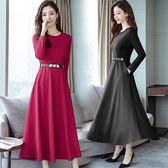 秋冬長洋裝女 正韓修身顯瘦純色氣質長裙時尚優雅長袖洋裝連衣裙女 快速出貨