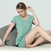 睡衣(套裝)-短袖純色簡約莫代爾外出女休閒服3色71m3[時尚巴黎]