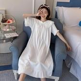 睡裙女夏純棉短袖可愛甜美仙女宮廷睡衣女春秋公主風長款睡裙寬鬆 貝芙莉