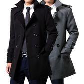 2018秋季新款男士風衣修身韓版潮大衣男毛呢雙排扣青年男裝厚外套 藍嵐