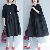 寬鬆顯瘦異材質拼接洋裝-大尺碼 獨具衣格 J2547