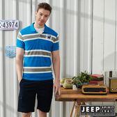 【JEEP】輕夏撞色條紋短袖POLO衫-水藍