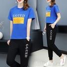 套裝 運動休閒套裝女學生時尚韓版大碼寬鬆2021夏季短袖T恤ins潮兩件套 俏girl