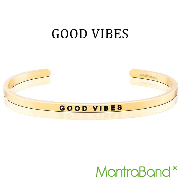 Mantraband | GOOD VIBES 正能量 - 悄悄話金色手環 台灣官方總代理