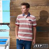 【JEEP】美式休閒百搭條紋短袖POLO衫 (紅)