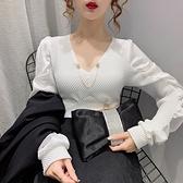 秋季韓版v領女上衣褶皺拼接泡泡長袖時尚百搭t恤H480A紅粉佳人